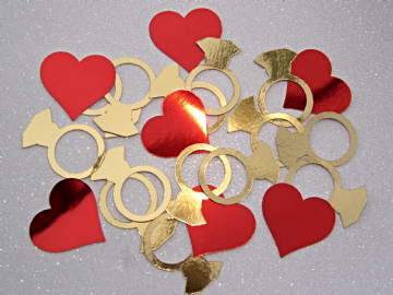 Engagement Ring Confetti Red Hearts